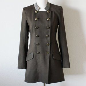 Dolce Vita Olive Brown Military Long Jacket, Sz XS